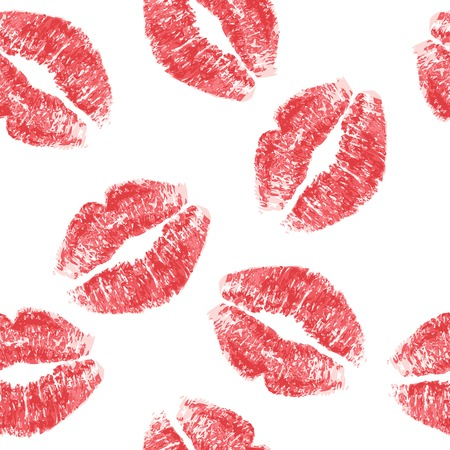smooch: Vector Red lips imprint isolated on white background