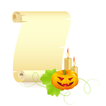 burning paper: Pumpkin monster with parchment and burning candles on a white  background , vector Illustration