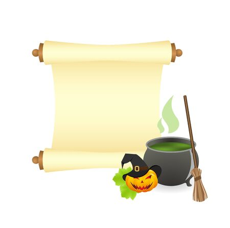 boiling pot: Witch hat, pot of boiling potion, and the ancient scroll on white background Illustration