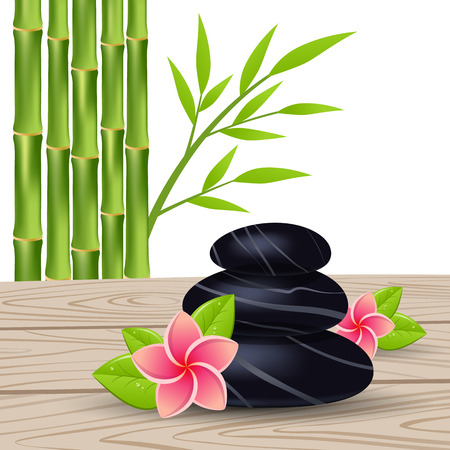 stones with flower: template with  flower, green leaves and black stones, vertical card on  wood background , vector