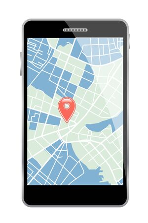 route map: Smartphone with map on white background. Vector illustration.