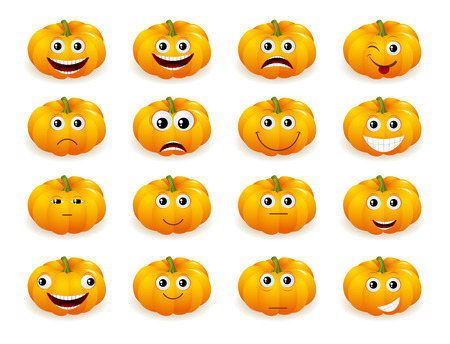 making face: Cute Halloween pumpkin decoration making  different funny face expressions