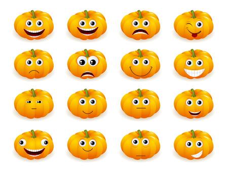 calabaza caricatura: Linda decoración de la calabaza de Halloween toma diferentes expresiones de la cara divertida