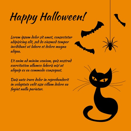 cartoon bat: HAPPY HALLOWEEN page template - with spider and spiderweb theme