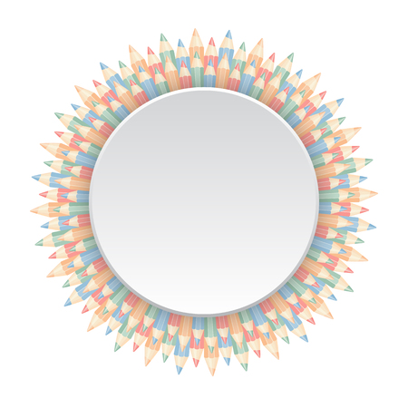 repetition row: Circle frame of color pencilsiIsolated on white background. Vector illustration Illustration