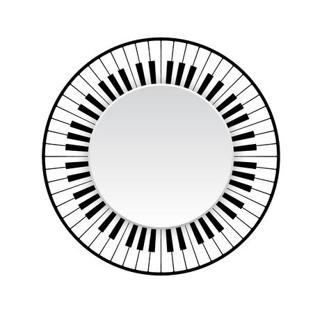 Circle frame of piano keyboard on white background. vector illustration Illustration