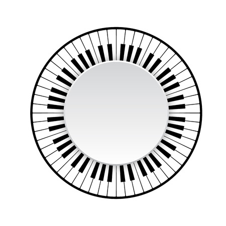 Circle frame of piano keyboard on white background. vector illustration Vettoriali