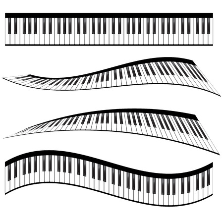 Piano keyboards vector illustrations. Various angles and views Vectores