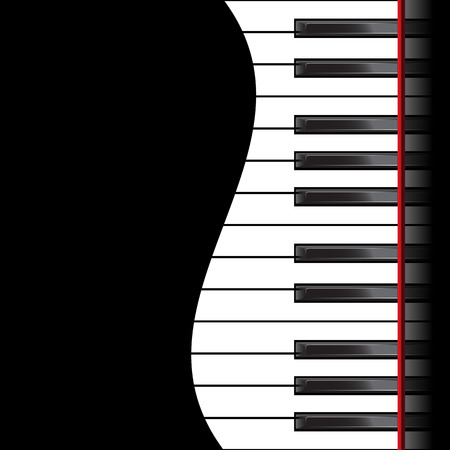 Template with piano keyboard on black background. Vector illustration Vettoriali