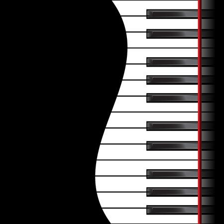 fortepian: Szablon z fortepian klawiatury na czarnym tle. Ilustracji wektorowych Ilustracja