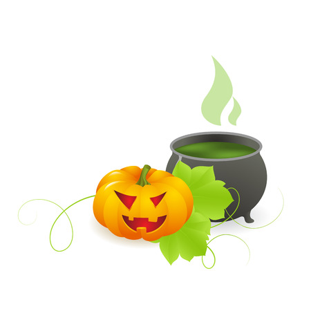 magic potion: Halloween  background with with magic potion in a cauldron