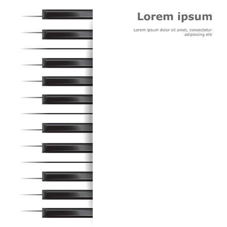 Template with piano keyboard on white  background. Vector illustration.