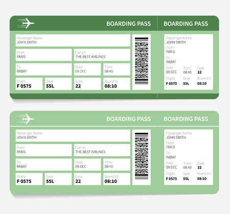 going places: Airline boarding pass. Green ticket isolated on white background. Vector illustration