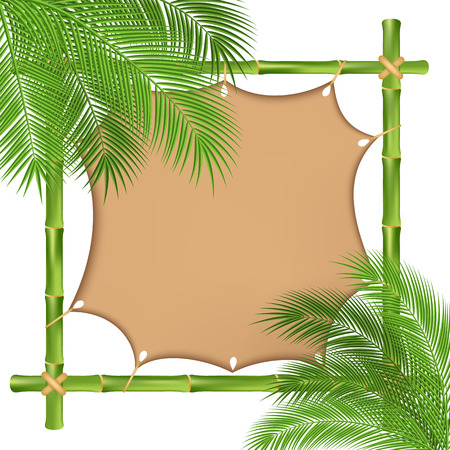 bamboo frame: Bamboo frame with a canvas. vector illustration Illustration