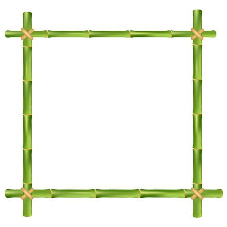 Bamboe frame geïsoleerd op een witte achtergrond. Vector illustratie. Stock Illustratie