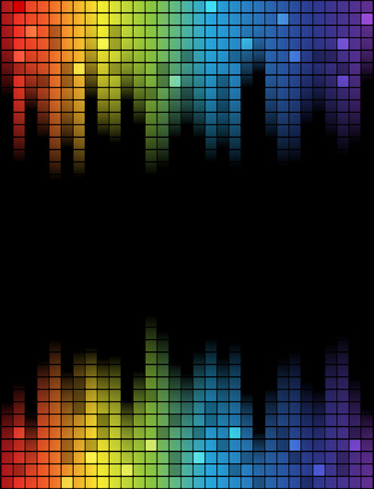 disco backdrop: Digital abstract equalizer. Multicolored waveform background. vector Illustration