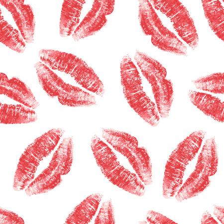 흰색 배경에 빨간 입술 원활한 패턴입니다. 벡터 일러스트 레이 션. 일러스트