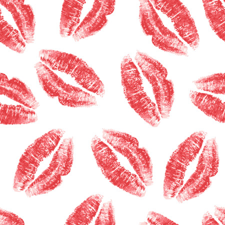 girls kissing girls: Seamless pattern with red lips on white background. Vector illustration.
