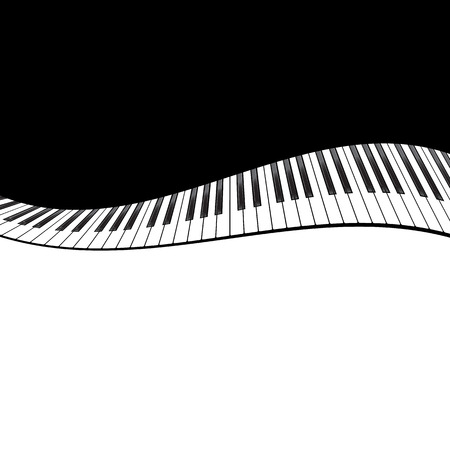 instrumentalist: Template with piano keyboard on black background. Vector illustration Illustration
