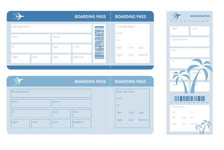 Airline boarding pass. Blue ticket isolated on white background. Vector illustration Vettoriali