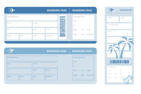 Luchtvaartmaatschappij boarding pass. Blue ticket geïsoleerd op een witte achtergrond. Vector illustratie