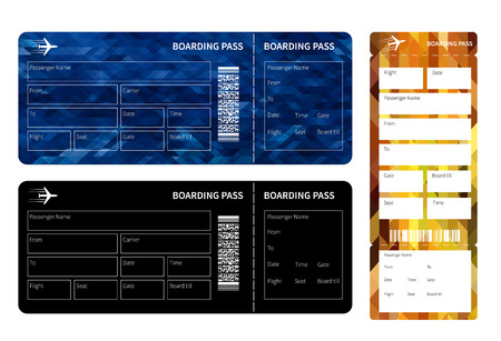 set going: Set of airline boarding pass tickets on whihe background. Vector illustration. Illustration