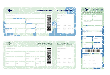 going green: Set of airline boarding pass tickets on whihe background. Vector illustration. Illustration