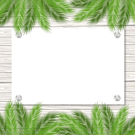 palmtree: palms and decorated vector wood banner. vector illustration.