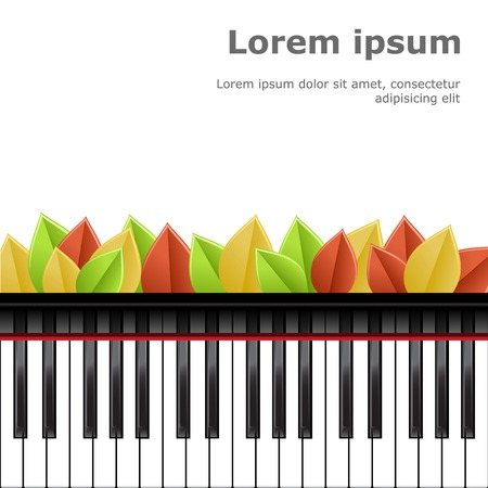 piano: Template with piano keyboard on white background. Vector illustration.