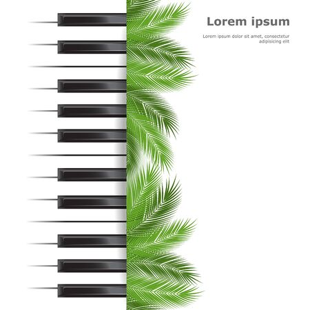 show plant: Template with piano keyboard with palms on white background. Vector illustration.