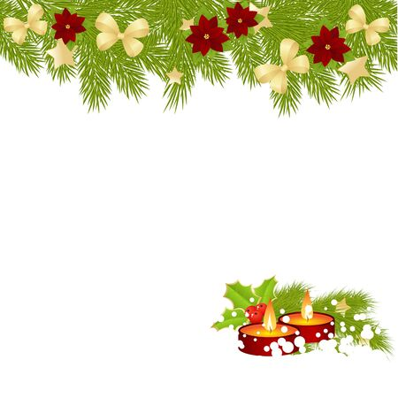 christmas candle: Christmas card with candles isolated on white background. vector illustration. Illustration