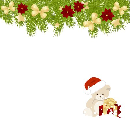 merrychristmas: Christmas card with a cute bear on white background. vector illustration.