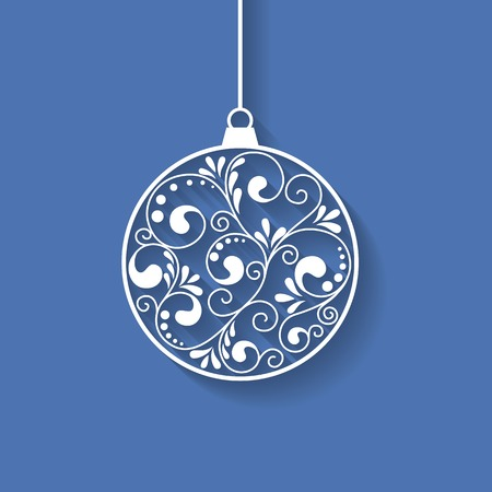 christmas greeting: Ornamental Christmas ball with paper swirls, vector background