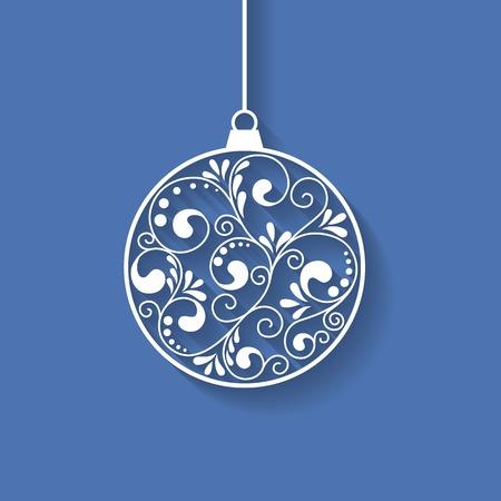 Sier Kerst bal met papier krullen, vector achtergrond