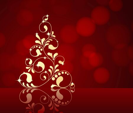 background colors: Abstract winter red background with Christmas tree. vector illustration.