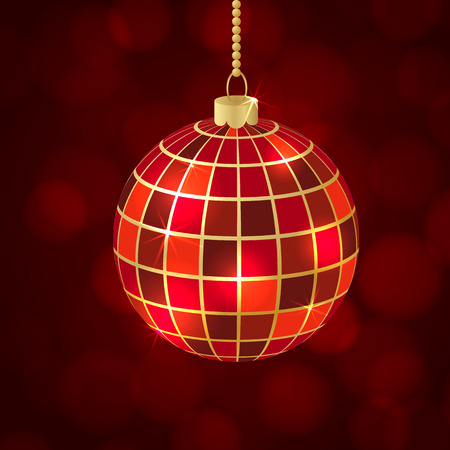 red ball: Red ball Merry Christmas card in vector format