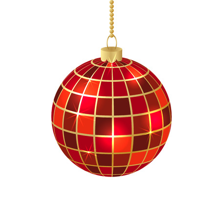 mirror ball: Christmas card with red mirror ball in vector format Illustration