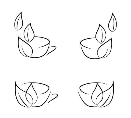 コーヒーカップ: 白い背景に分離されたコーヒー カップ ベクトル アイコン
