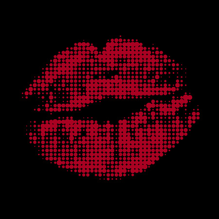 stoned: Halftone red attractive woman lips, vector illustration Illustration