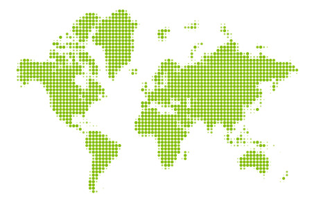 green world: Dotted green world map made of circles. Vector illustration. Illustration