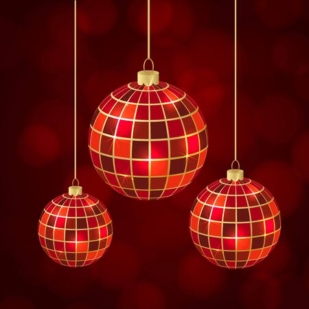 color balls: Abstract christmas balls on red background. vector illustration Illustration