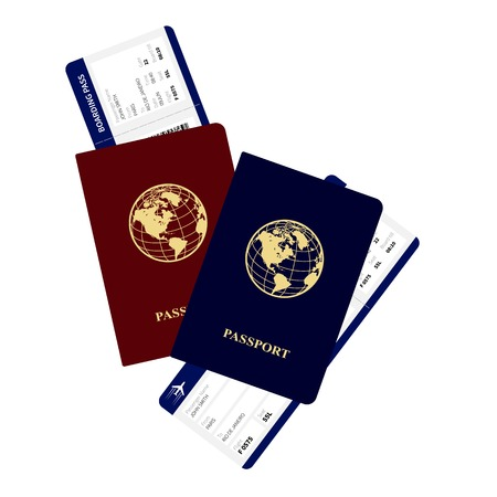 passes: passports and boarding passes vector illustration. Airplane ticket.