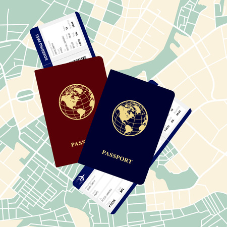 emigration: passports and airline tickets vector illustration on a map