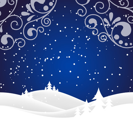 christmas night: Vector winter nature with forest, tree and snow