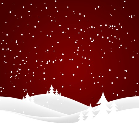 xmas background: Vector winter nature with forest, tree and snow