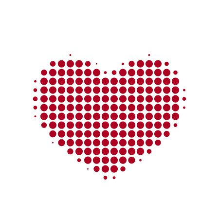 heart of love: Red Heart Halftone icon isolated on white background, vector Illustration