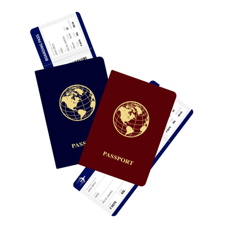 airplane ticket: passports and boarding passes vector illustration. Airplane ticket.