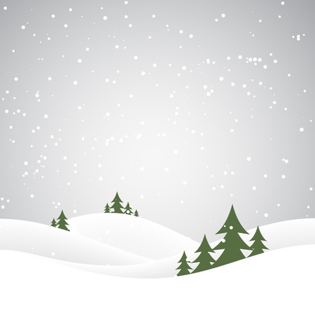 snowy hill: Holiday christmas background with winter landscape. Vector illustration