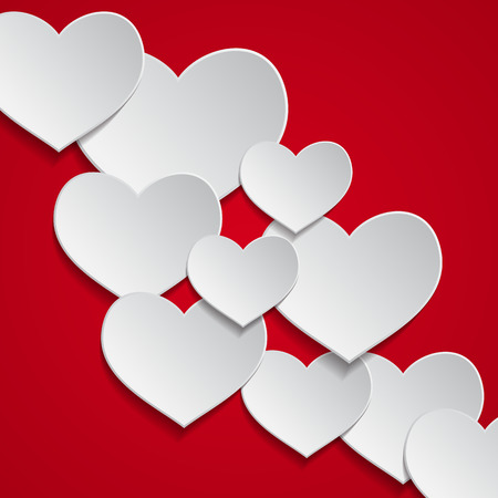white heart: Romantic background with hearts on red background. vector illustration