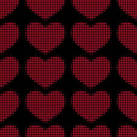 sfondo romantico: Sfondo romantico con cuori isolato su sfondo nero. illustrazione vettoriale Vettoriali